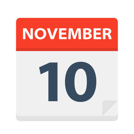 November 10 - Calendar Icon - Vector Illustration Illustration