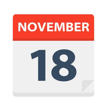November 18 - Calendar Icon - Vector Illustration