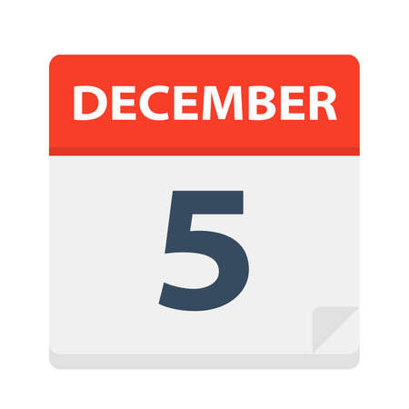 December 5 - Calendar Icon - Vector Illustration