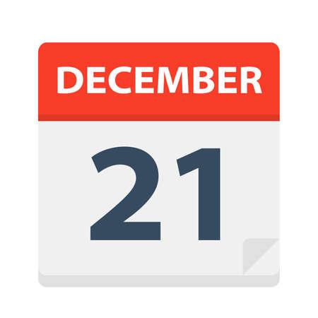 December 21 - Calendar Icon - Vector Illustration 矢量图像