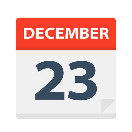 December 23 - Calendar Icon - Vector Illustration