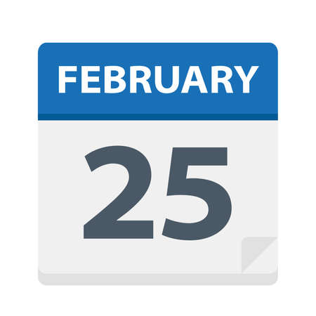 February 25 - Calendar Icon - Vector Illustration