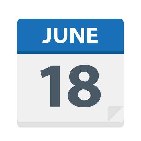 June 18 - Calendar Icon - Vector Illustration Çizim