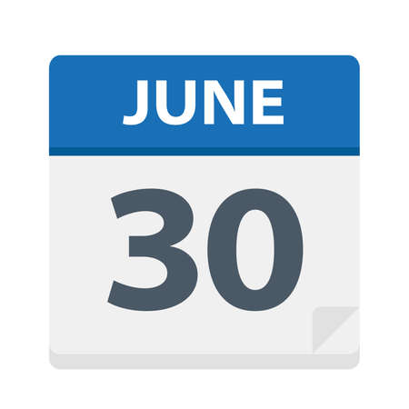 June 30 - Calendar Icon - Vector Illustration Illustration
