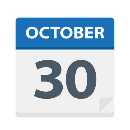 October 30 - Calendar Icon - Vector Illustration