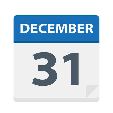December 31 - Calendar Icon - Vector Illustration Illustration
