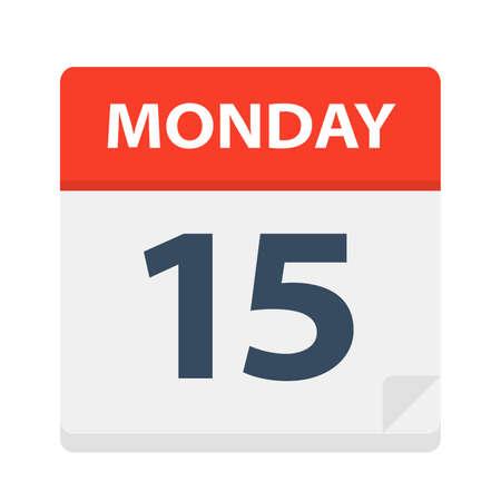 Monday 15 - Calendar Icon - Vector Illustration