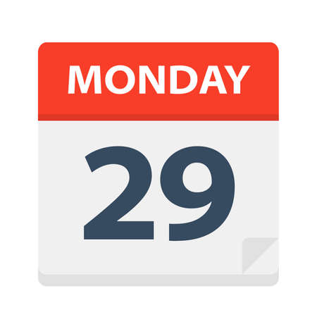 Monday 29 - Calendar Icon - Vector Illustration