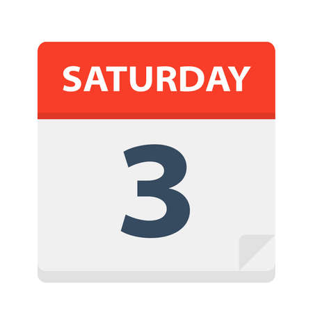 Saturday 3 - Calendar Icon - Vector Illustration