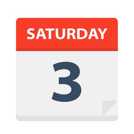 Saturday 3 - Calendar Icon - Vector Illustration