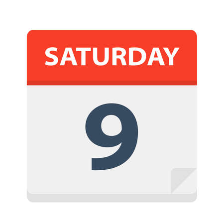 Saturday 9 - Calendar Icon - Vector Illustration