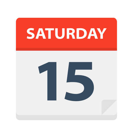 Saturday 15 - Calendar Icon - Vector Illustration