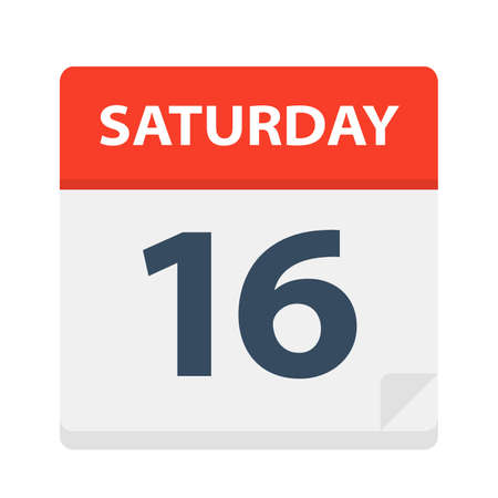 Saturday 16 - Calendar Icon - Vector Illustration Фото со стока - 127522744