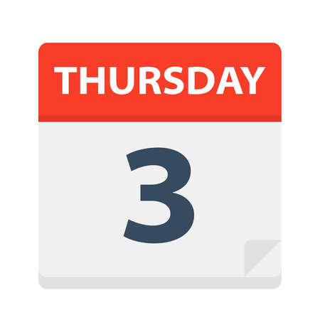 Thursday 3 - Calendar Icon - Vector Illustration