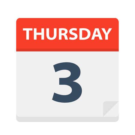 Thursday 3 - Calendar Icon - Vector Illustration