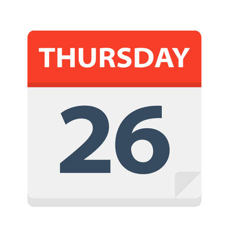 Thursday 26 - Calendar Icon - Vector Illustration