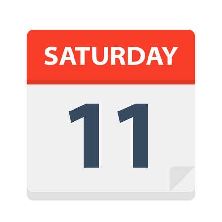 Sábado 11 - Icono de calendario - Ilustración vectorial