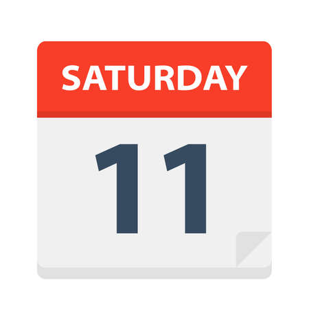 Saturday 11 - Calendar Icon - Vector Illustration 免版税图像 - 112407691