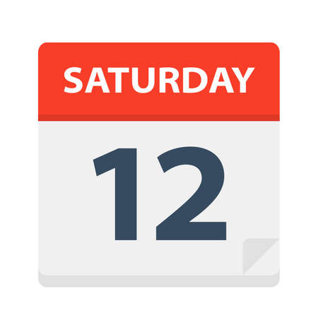 Saturday 12 - Calendar Icon - Vector Illustration