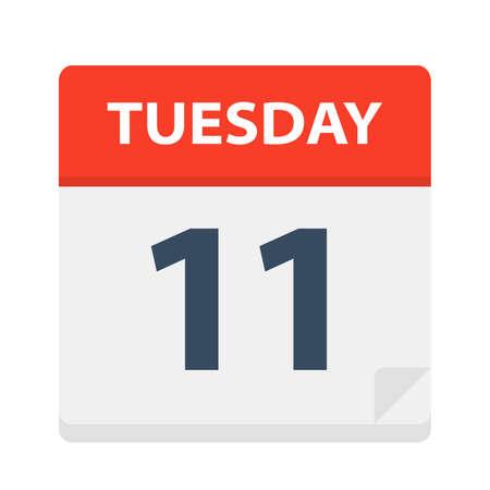 Tuesday 11 - Calendar Icon - Vector Illustration