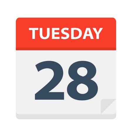 Tuesday 28 - Calendar Icon - Vector Illustration
