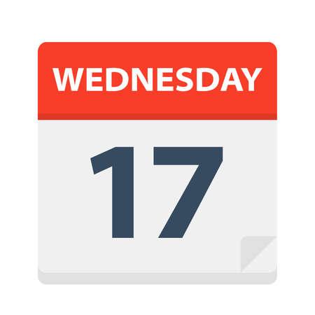 Wednesday 17 - Calendar Icon - Vector Illustration Иллюстрация