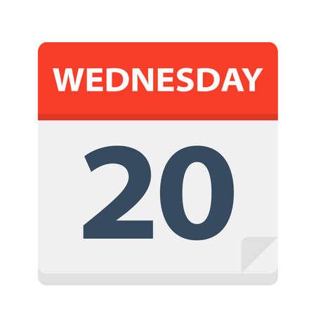 Wednesday 20 - Calendar Icon - Vector Illustration Иллюстрация