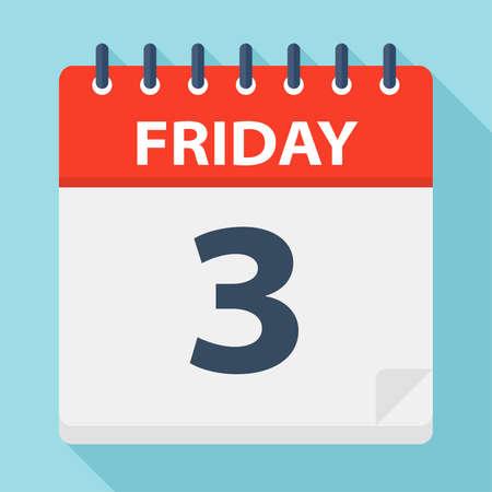 Friday 3 - Calendar Icon - Vector Illustration 矢量图像