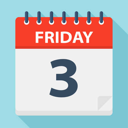 Friday 3 - Calendar Icon - Vector Illustration Ilustração