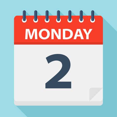 Monday 2 - Calendar Icon - Vector Illustration