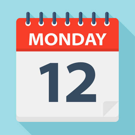 Monday 12 - Calendar Icon - Vector Illustration 矢量图像