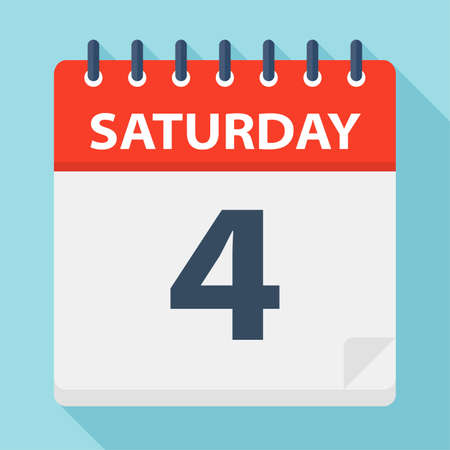 Saturday 4 - Calendar Icon - Vector Illustration