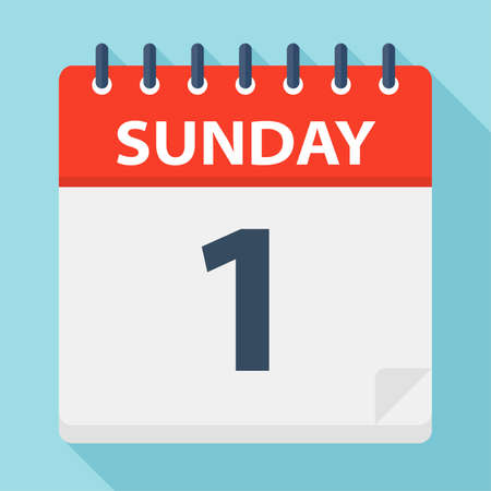 Sunday 1 - Calendar Icon - Vector Illustration