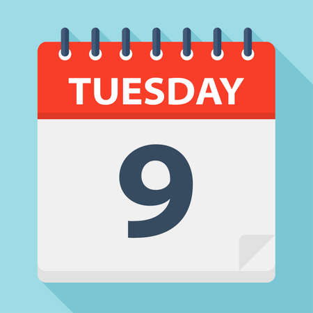 Tuesday 9 - Calendar Icon - Vector Illustration 向量圖像