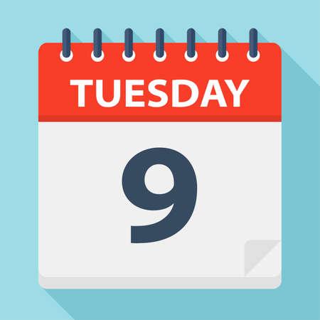 Tuesday 9 - Calendar Icon - Vector Illustration Çizim