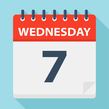 Wednesday 7 - Calendar Icon - Vector Illustration