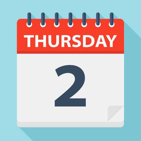 Thursday 2 - Calendar Icon - Vector Illustration Ilustração