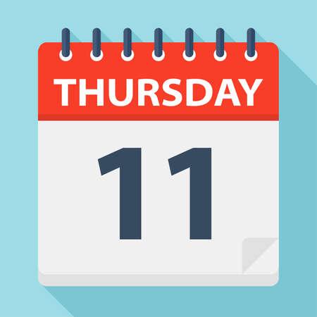 Thursday 11 - Calendar Icon - Vector Illustration Illustration