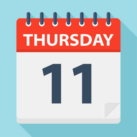 Thursday 11 - Calendar Icon - Vector Illustration Иллюстрация