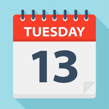 Tuesday 13 - Calendar Icon - Vector Illustration 向量圖像