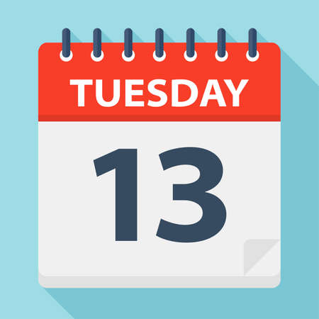 Tuesday 13 - Calendar Icon - Vector Illustration Çizim