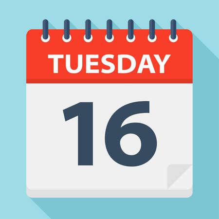 Tuesday 16 - Calendar Icon - Vector Illustration