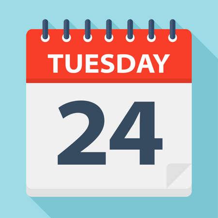 Tuesday 24 - Calendar Icon - Vector Illustration