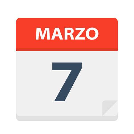Marzo 7 - Calendar Icon - March 7 - Vector Illustration Vetores