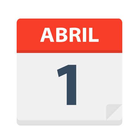 Abril 1 - Calendar Icon - April 1 - Vector Illustration Ilustrace