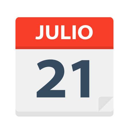 Julio 21 - Calendar Icon - July 21 - Vector Illustration