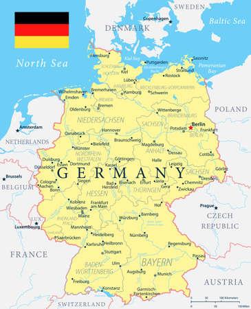 Carte de l'Allemagne - Jaune - illustration vectorielle détaillée