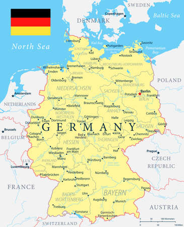Germany Map - Yellow - detailed vector illustration