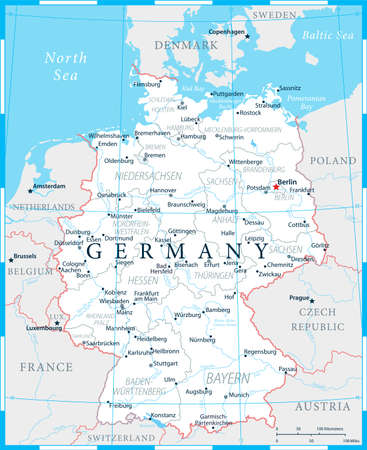 Germany Map - White and Grid - detailed vector illustration Ilustrace