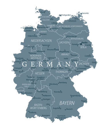 Germany Map - Grayscale - detailed vector illustration  イラスト・ベクター素材